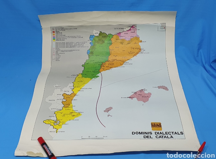 CARTEL - DOMINIS DIALECTALS DEL CATALÀ - ENCICLOPEDIA CATALANA 1975 (Coleccionismo - Carteles gran Formato - Carteles Políticos)