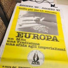 Carteles Políticos: ANTIGUO CARTEL POLÍTICO NACIONAL REVOLUCIONARIO,ITALIA,ITALIANO,FASCISMO,COLECCIONISMO,TRANSICIÓN. Lote 255546500