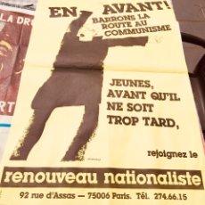 Carteles Políticos: ANTIGUO Y RARO CARTEL POLÍTICO NACIONAL REVOLUCIONARIO FRANCÉS,FRANCIA,RENOUVEAU NATIONALISTE. Lote 258818065