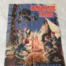 Carteles Políticos: ANTIGUO CARTEL CAMPAMENTOS DE VERANO DEL FRENTE DE JUVENTUDES 1947 AUTOR LUIGIT JOSE CAFFOND 1947. Lote 263431130