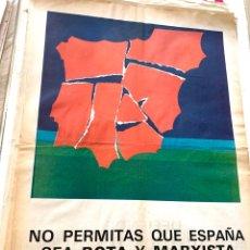 Carteles Políticos: CARTEL POLÍTICO CONTRARIO A LA CONSTITUCIÓN ESPAÑOLA,1978,FUERZA NUEVA,FUERZA JOVEN,FALANGE,FRANCO. Lote 284508228