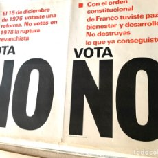 Carteles Políticos: CARTEL POLÍTICO CONTRARIO A LA CONSTITUCIÓN ESPAÑOLA,1978,FUERZA NUEVA,FUERZA JOVEN,FALANGE,FRANCO. Lote 284509533