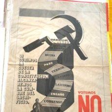 Carteles Políticos: CARTEL POLÍTICO CONTRARIO A LA CONSTITUCIÓN ESPAÑOLA,1978,FUERZA NUEVA,FUERZA JOVEN,FALANGE,FRANCO. Lote 284510098