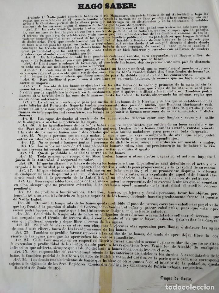 ANTIGUO BANDO O EDICTO DE MADRID. DUQUE DE SESTO 1858 (Coleccionismo - Carteles gran Formato - Carteles Políticos)