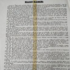 Carteles Políticos: ANTIGUO BANDO O EDICTO DE MADRID. DUQUE DE SESTO 1858. Lote 286545253