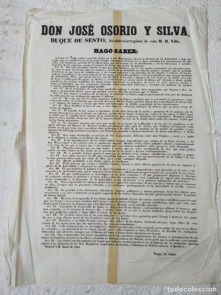 Carteles Políticos: Antiguo Bando o edicto de Madrid. Duque de Sesto 1858 - Foto 2 - 286545253