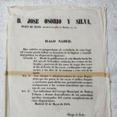 Carteles Políticos: BANDO O EDICTO DEL ALCALDE DE MADRID DUQUE DE SESTO 1858. Lote 286546753