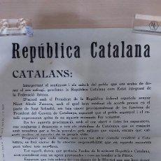 Carteles Políticos: U-246.- CARTEL POSTER REPUBLICA CATALANA BANDO PROCLAMACION PRESIDENT FRANCESC MACIA 1931. Lote 294082938