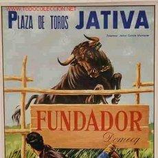 Carteles Publicitarios: CARTEL FUNDADOR DOMEC PLAZA TOROS JATIVA , ORIGINAL, LITOGRAFIA , RB. Lote 24314274