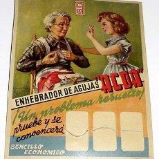 Carteles Publicitarios: ANTIGUO DISPLAY DE PUBLICIDAD DEL ENHEBRADOR DE AGUJAS ACDA - 25 X 19 CMS. DE CARTON - AÑOS 40. Lote 8825429