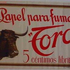 Carteles Publicitarios: CARTEL PUBLICIDAD PAPEL DE FUMAR EL TORO AÑOS 20. Lote 23700841