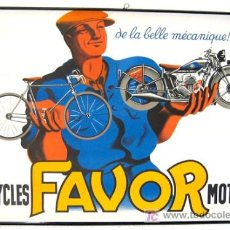 Carteles Publicitarios: CARTEL PUBLICIDAD MOTOS Y BICICLETAS FAVOR, FRANCIA, 1937 , VER FOTO.. Lote 26065965