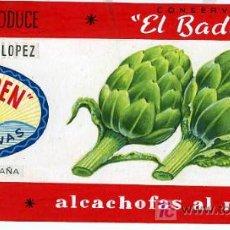 Carteles Publicitarios: PINTADO A MANO , ORIGINAL , PUBLICIDAD ALCACHOFAS AL NATURAL , EL BADEN, RODRIGUEZ LOPEZ , MURCIA. Lote 11627229