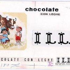 Carteles Publicitarios: PINTADO A MANO , ORIGINAL , PUBLICIDAD CHOCOLATE CON LECHE ILLA. Lote 17505162