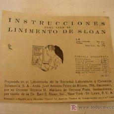 Carteles Publicitarios: FOLLETO-INSTRUCCIONES PARA USAR EL LINIMENTO DE SLOAN- 8 PÁG-10 X 13 CM. VER FOTOS. Lote 22885476
