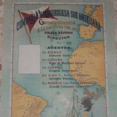 Carteles Publicitarios: COMPAÑIA HAMBURGUESA SUDAMERICANA. CARTEL A COLOR. REPRODUCCIÓN DE BARCOS RF-10. Lote 147578269