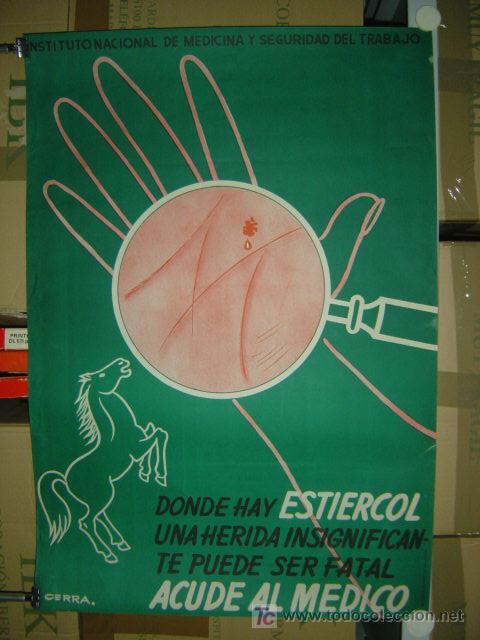 DONDE HAY ESTIERCOL UNA HERIDA INSIGNIFICANTE PUEDE SER FATAL - ACUDE AL MEDICO - 1963 (Coleccionismo - Carteles Gran Formato - Carteles Publicitarios)