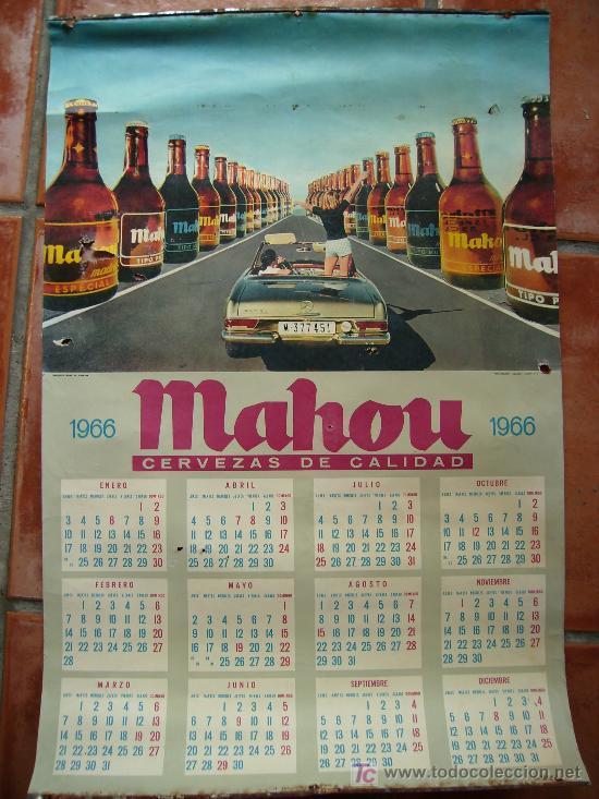 AÑO 1966 CALENDARIO DE MAHOU DONDE SALE EL MERCEDES PAGODA 68X45 (Coleccionismo - Carteles Gran Formato - Carteles Publicitarios)