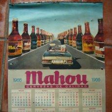 Carteles Publicitarios: AÑO 1966 CALENDARIO DE MAHOU DONDE SALE EL MERCEDES PAGODA 68X45. Lote 26429139