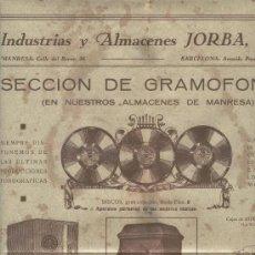 Carteles Publicitarios: CARTEL PUBLICITARIO DE GRAMOFONOS. GRAMOLA. DISCOS. MANRESA. AÑOS 20. GRAMOFONO.. Lote 7586904