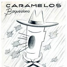 Carteles Publicitarios: CARTEL PINTADO A MANO ,PUBLICIDAD DE CARMAMELOS BAQUEDANO. Lote 17812922