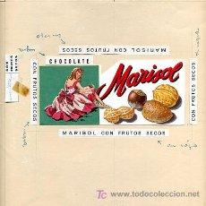 Carteles Publicitarios: CARTEL PINTADO A MANO ,PUBLICIDAD DE CHOCOLATE MARISOL, CHOCOLATE CON FRUTOS SECOS. Lote 21412089