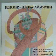 Affiches Publicitaires: SABADELL (BARCELONA) - MATEO BRUJAS & Cº - FABRICA DE TEJIDOS DE LANA Y ESTAMBRE, AÑOS 1930. Lote 195814027