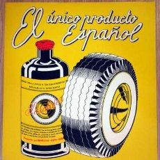 Carteles Publicitarios: CARTEL PUBLICIDAD PARALATEX PRODUCTO PARA LAVADO NEUMÁTICOS COCHES AÑOS 40. Lote 70660687