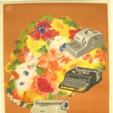 Carteles Publicitarios: CARTEL HISPANO OLIVETTI, PUBLICIDAD, LITOGRAFICO AÑOS 60 , 3 MAQUINAS LEXICON 80 Y OTRAS. Lote 71151245