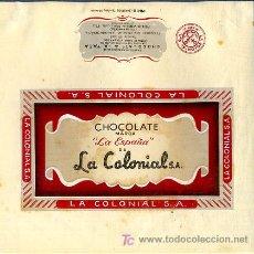 Carteles Publicitarios: CARTEL ORIGINAL , PINTADO A MANO , ENVOLTORIO PUBLICIDAD CHOCOLATES LA ESPAÑA , LA COLONIAL ,MADRID. Lote 21838347