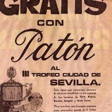 Carteles Publicitarios: PUBLICIDAD VINOS PATON. III TROFEO CIUDAD DE SEVILLA.. Lote 26204319
