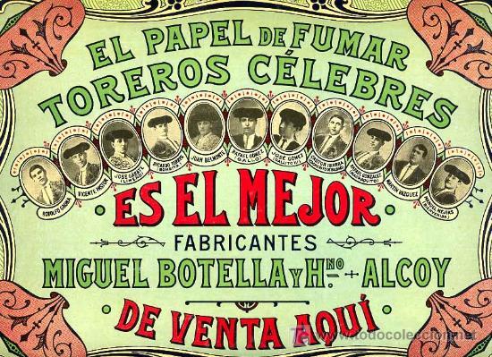 Carton publicitario papel de fumar toreros cele comprar - Carteles publicitarios antiguos ...