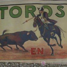 Carteles Publicitarios: ANTIGUO CARTEL LITOGRÁFICO DE TOROS. Lote 26832139