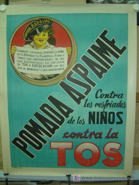 CARTEL PASTILLAS ASPAIME TOS (NIÑO) - CARTEL LITOGRAFICO - AÑOS 1940 (Coleccionismo - Carteles Gran Formato - Carteles Publicitarios)