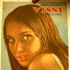Carteles Publicitarios: CARTEL PUBLICIDAD VISNU COSMETICOS , CALENDARIO 1966 , PRODUCTO DE ASTURIAS ,RB. Lote 244490775