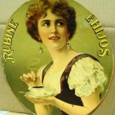 Carteles Publicitarios: CARTON PUBLICITARIO DE CAFE RUBINE E HIJOS. MEDIDAS 33 X 29 CM.. Lote 18089087
