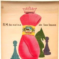 Carteles Publicitarios: CARTEL PUBLICIDAD LANAS ARAGON , VALENCIA, LITOGRAFICO , AJEDREZ , 1962. Lote 15657904