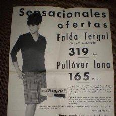 Carteles Publicitarios: PUBLICIDAD A DOS CARAS DE TERGAL REALIZADA POR GALERIAS PRECIADOS. 1964.. Lote 24395712