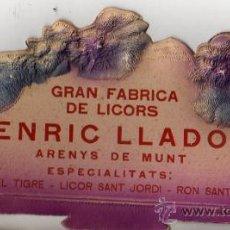 Carteles Publicitarios: PUBLICIDAD GRAN FABRICA DE LICORS ENRIC LLADO ARENYS DE MUNT . Lote 50197334