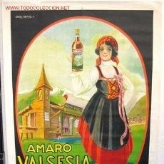 Affiches Publicitaires: GRAN CARTEL PUBLICIDAD LICOR ITALIA, AMARO VALSESIA , MIDE APROXIMADAMENTE 100 X 140 CTMS.. Lote 15657887