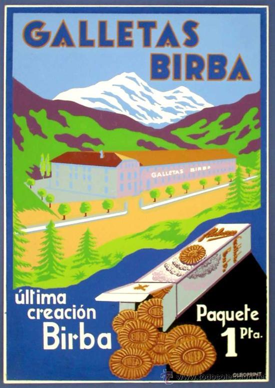 Galletas birba cartel impreso en oleoprint ma comprar - Carteles publicitarios antiguos ...