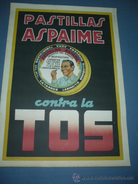 CARTEL PASTILLAS ASPAIME CONTRA LA TOS TAMAÑO 1000X70 (Coleccionismo - Carteles Gran Formato - Carteles Publicitarios)