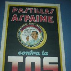 Carteles Publicitarios: CARTEL PASTILLAS ASPAIME CONTRA LA TOS TAMAÑO 1000X70. Lote 87235636