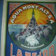 Carteles Publicitarios: CARTEL PUBLICITARIO DE AGUA MONT-ALT LA MEJOR LITOGRAFICO TAMAÑO 700X500. Lote 10952120