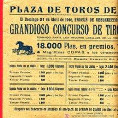 Carteles Publicitarios: CARTEL PUBLICIDAD CONCUNSO DE TIRO Y ARRASTRE, TIPICO VALENCIANO, VALENCIA 1946. Lote 22703927
