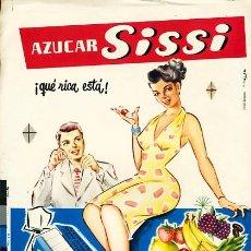 Carteles Publicitarios: PEQUEÑO CARTEL PUBLICIDAD, AZUCAR SISSI , CARTULINA, . Lote 22703990