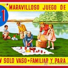 Carteles Publicitarios: PEQUEÑO CARTEL PUBLICIDAD, VASOS PARA PICNIC , CARTULINA , . Lote 22703989
