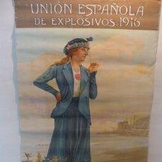 Carteles Publicitarios: BONITA PUBLICIDAD UNION ESPAÑOLA DE EXPLOSIVOS 1916, J. MENENDEZ PIDAL. LITOGRAFIA COLOR. 58X35CM.. Lote 13923239