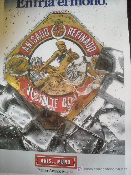 GRAN CARTEL COLOR ANIS DEL MONO AÑOS 80 (Coleccionismo - Carteles Gran Formato - Carteles Publicitarios)