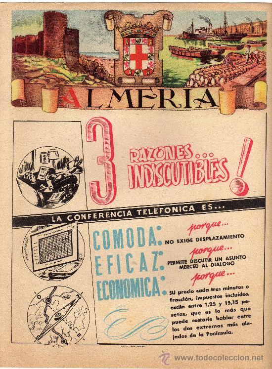 ALMERIA, CARTELITO PUBLICITARIO DE LA GUIA TELEFONICA 1954 (Coleccionismo - Carteles Gran Formato - Carteles Publicitarios)
